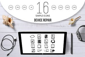 Device repair symbols icons set