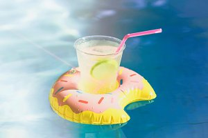 Summer drink in the pool