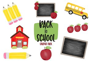 Watercolor Back to School Graphics