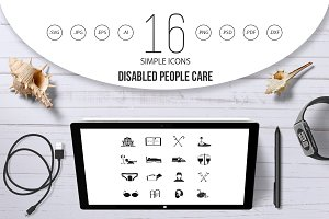 Disabled people care set, simple