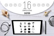 Easter items icons set, simple style