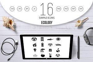 Ecology icons set, simple style