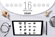 Ecology icons set, simple style