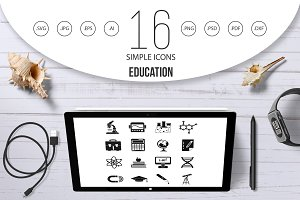 Education icons set, simple style