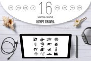 Egypt travel items icons set, simple