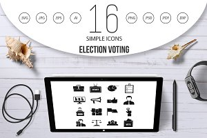 Election voting icons set, simple