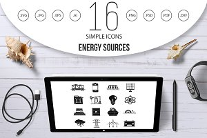 Energy sources items icons set