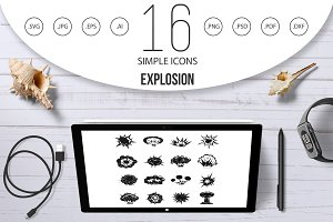 Explosion icons set, simple style