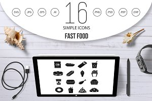 Fast food icons set, simple style