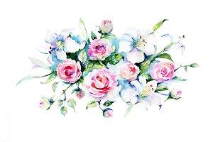 Festive bouquet of flowers PNG set
