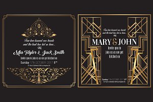2x RETRO ART DECO WEDDING INVITATION
