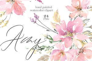 Pink Watercolor Flowers & Bouquets