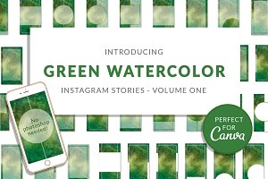 Green Watercolor Canva Insta Stories