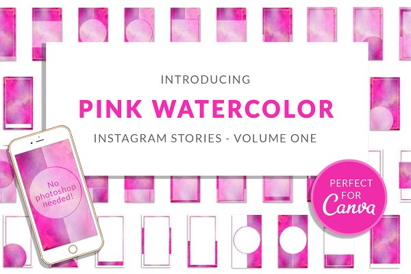 Pink Watercolor Canva Insta Stories