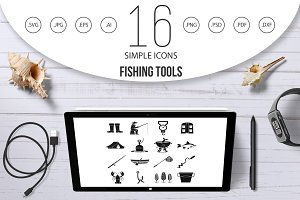 Fishing tools icons set, simple