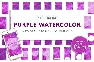 Purple Watercolor Canva Insta Story