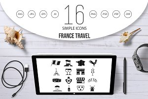 France travel icons set, simple