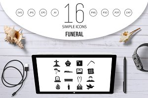 Funeral icons set, simple style