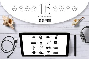 Gardening icons set, simple style