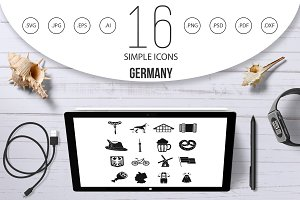 Germany icons set, simple style