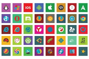 45 Browser & Os Flat Icon Set