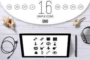 GMO icons set food, simple style