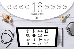 Golf items icons set, simple style