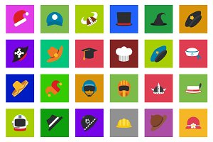 25 Cap & Hat Flat Icon Set