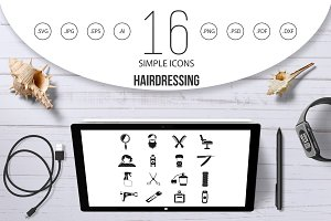Hairdressing icons set, simple style