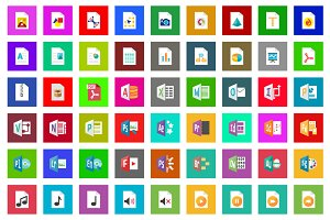75 Filetype Flat Icon Set