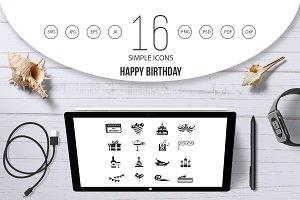 Happy Birthday icons set, simple