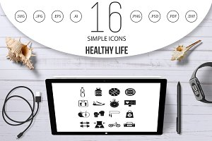 Healthy life icons set, simple style