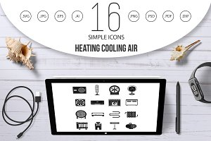 Heating cooling air icons set
