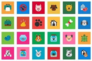 30 Pet Flat Icon Set