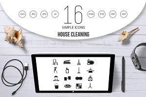 House cleaning icons set, simple