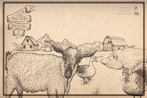 Farm animals engraving collection.