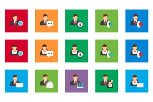 20 User Account Flat Icon Set