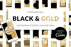 Black & Gold Insta Stories for Canva