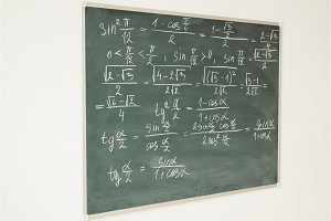 Mathematics formulas written on the