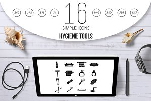 Hygiene tools icons set, simple