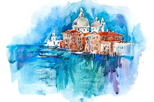 Watercolor illustration of city town