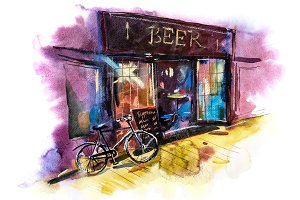 Beer bar or pub Watercolor