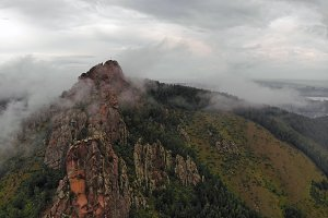 Aerial viw of fog among the mountain