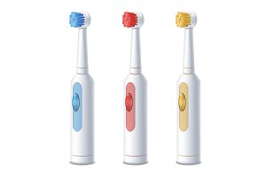 3d Electric Toothbrush Set. Vector