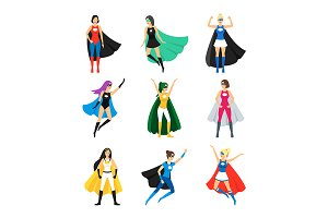 Female Superhero Characters Set