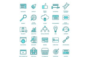 Development Thin Line Icon Set