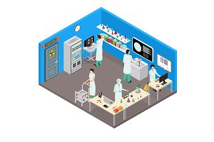Science Lab Interior with Furniture