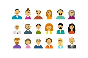 Business people, set of simple icons