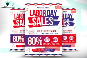 Labor Day Sale Flyer + Ad Banner Se