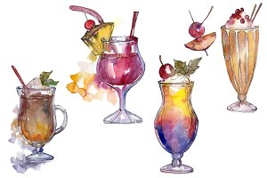 Watercolor exotic drink cocktail PNG